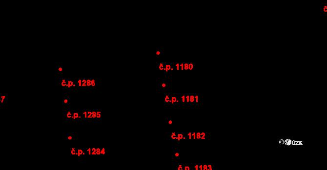 Svítkov 1181, Pardubice na parcele st. 1980 v KÚ Svítkov, Katastrální mapa