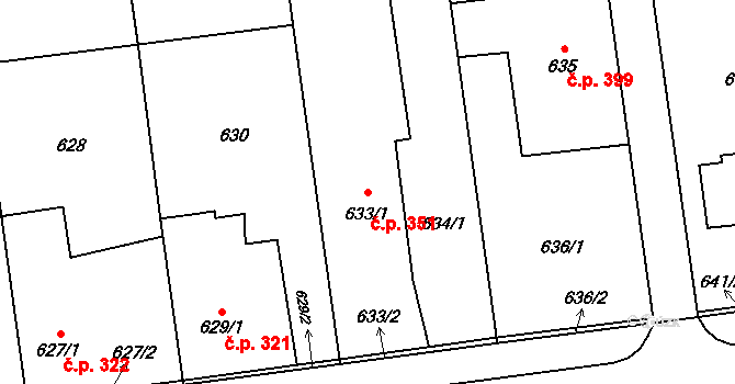 Bolatice 351 na parcele st. 633/1 v KÚ Bolatice, Katastrální mapa