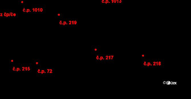 Holice 217 na parcele st. 1253 v KÚ Holice v Čechách, Katastrální mapa