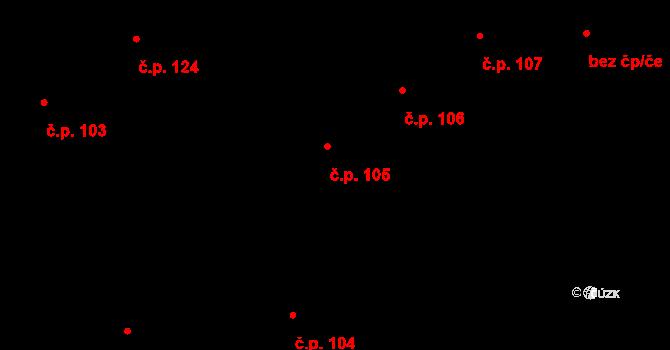 Pátek 105 na parcele st. 175 v KÚ Pátek u Poděbrad, Katastrální mapa