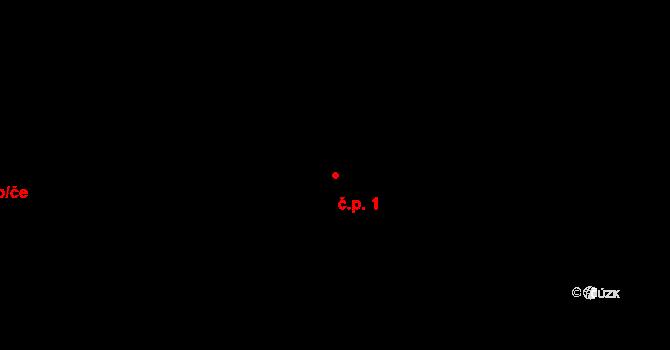 Vinařice 1 na parcele st. 72 v KÚ Vinařice u Kladna, Katastrální mapa