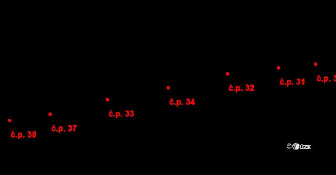 Horní Stropnice 34 na parcele st. 11 v KÚ Horní Stropnice, Katastrální mapa