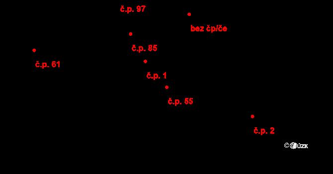 Hudcov 55, Teplice na parcele st. 73 v KÚ Hudcov, Katastrální mapa