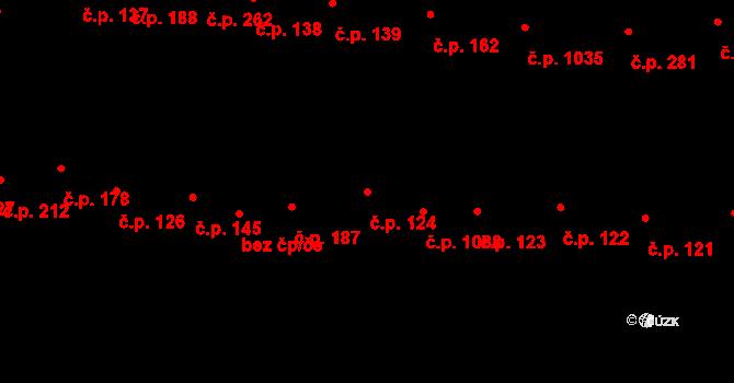 Újezd u Brna 124 na parcele st. 1742 v KÚ Újezd u Brna, Katastrální mapa