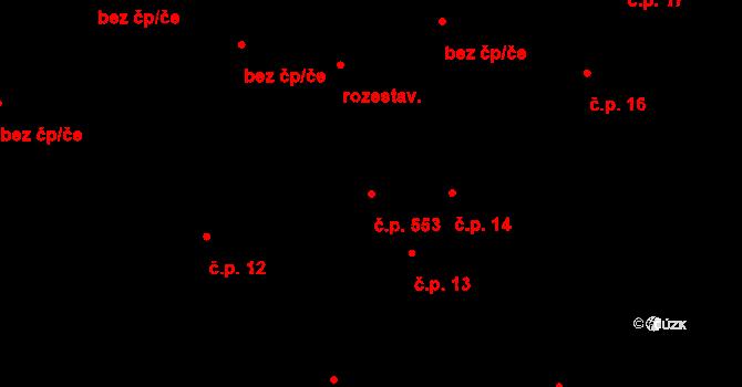 Mohelno 553 na parcele st. 150/2 v KÚ Mohelno, Katastrální mapa