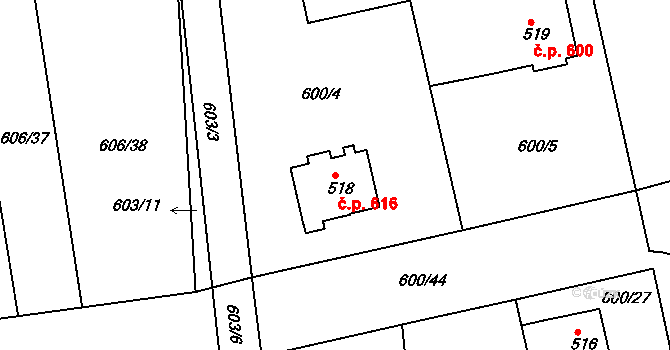 Nový Hradec Králové 616, Hradec Králové na parcele st. 518 v KÚ Nový Hradec Králové, Katastrální mapa