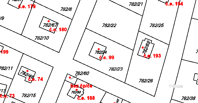 Lhota 99, Plzeň na parcele st. 782/24 v KÚ Lhota u Dobřan, Katastrální mapa