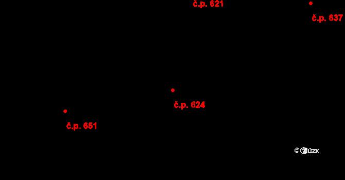 Mladcová 624, Zlín na parcele st. 1074 v KÚ Mladcová, Katastrální mapa