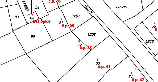 Lhota 38 na parcele st. 32 v KÚ Lhota u Lipníka nad Bečvou, Katastrální mapa