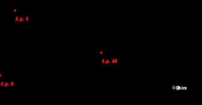 Horní Újezd 48 na parcele st. 124 v KÚ Horní Újezd u Třebíče, Katastrální mapa