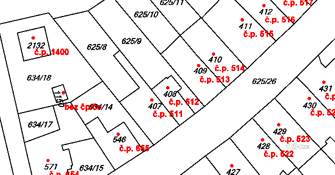 Nový Hradec Králové 512, Hradec Králové na parcele st. 408 v KÚ Nový Hradec Králové, Katastrální mapa