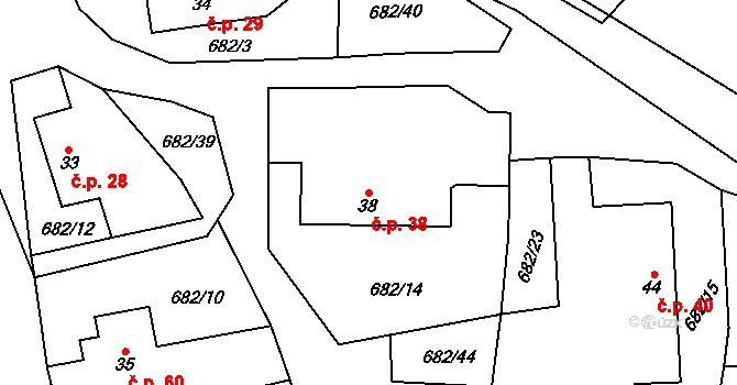 Kamenná Lhota 38 na parcele st. 38 v KÚ Kamenná Lhota, Katastrální mapa