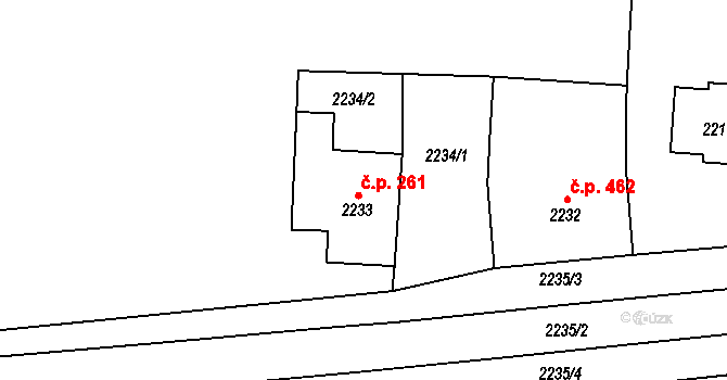 Lovosice 261 na parcele st. 2233 v KÚ Lovosice, Katastrální mapa