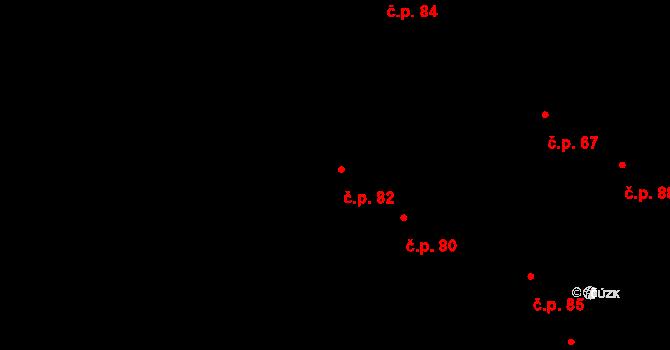 Jeviněves 82 na parcele st. 82 v KÚ Jeviněves, Katastrální mapa