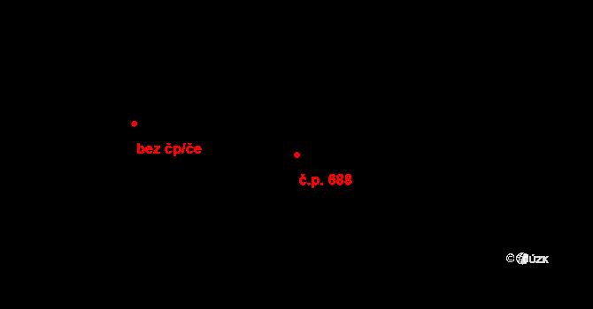 Kukleny 688, Hradec Králové na parcele st. 2220/3 v KÚ Kukleny, Katastrální mapa