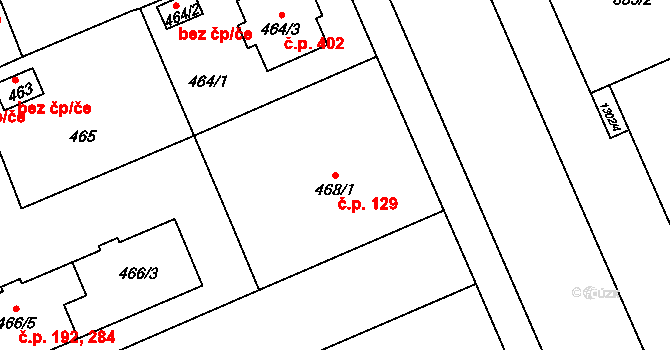 Hradiště 129, Plzeň na parcele st. 468/1 v KÚ Hradiště u Plzně, Katastrální mapa