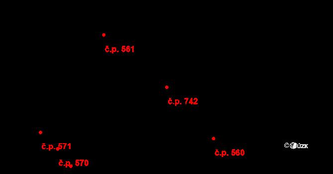 Studánka 742, Pardubice na parcele st. 349 v KÚ Studánka, Katastrální mapa