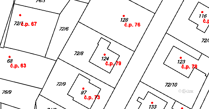 Sedlejov 79 na parcele st. 124 v KÚ Sedlejov, Katastrální mapa