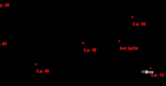 Úhřetická Lhota 38 na parcele st. 35 v KÚ Úhřetická Lhota, Katastrální mapa