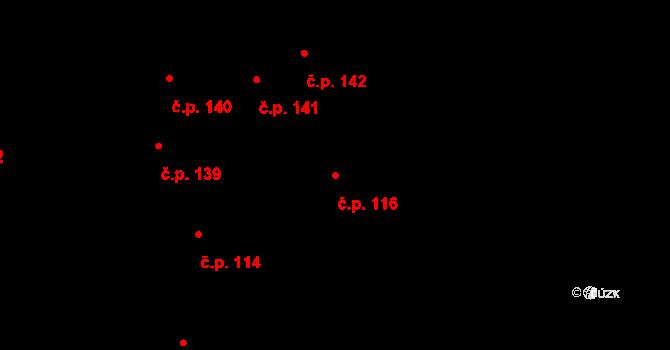Řepčín 116, Olomouc na parcele st. 136 v KÚ Řepčín, Katastrální mapa
