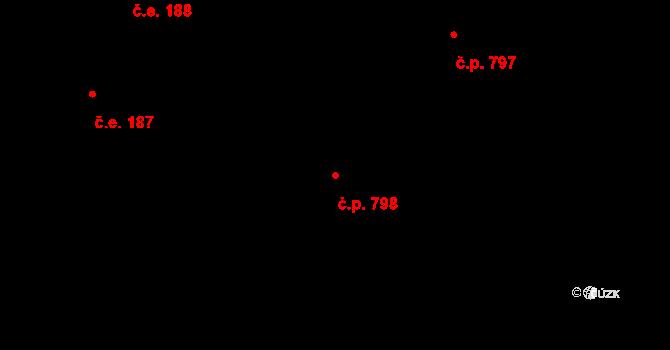 Rožnov pod Radhoštěm 798 na parcele st. 1086 v KÚ Rožnov pod Radhoštěm, Katastrální mapa