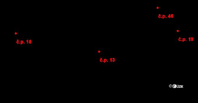 Buková Lhota 13, Benešov na parcele st. 221 v KÚ Úročnice, Katastrální mapa