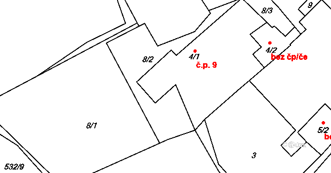 Vaneč 9, Pyšel na parcele st. 4/1 v KÚ Vaneč, Katastrální mapa