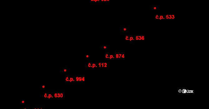 Přívoz 874, Ostrava na parcele st. 478/2 v KÚ Přívoz, Katastrální mapa