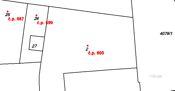 Vinohrady 600, Praha na parcele st. 2 v KÚ Vinohrady, Katastrální mapa
