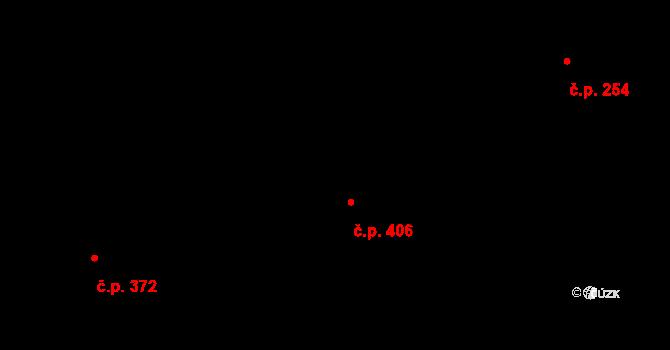 Louky 406, Zlín na parcele st. 652/1 v KÚ Louky nad Dřevnicí, Katastrální mapa