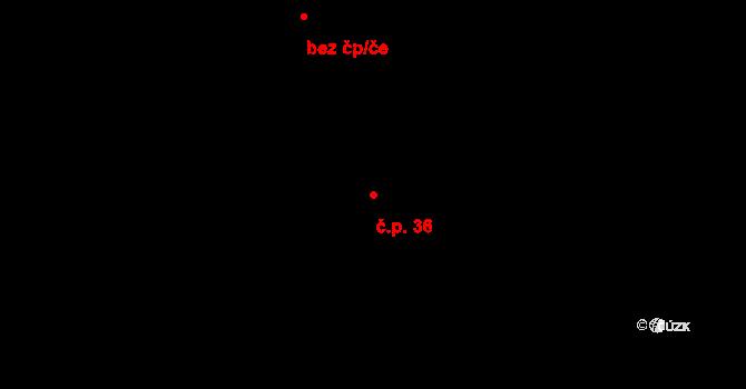 Chlístov 36 na parcele st. 286 v KÚ Chlístov u Benešova, Katastrální mapa