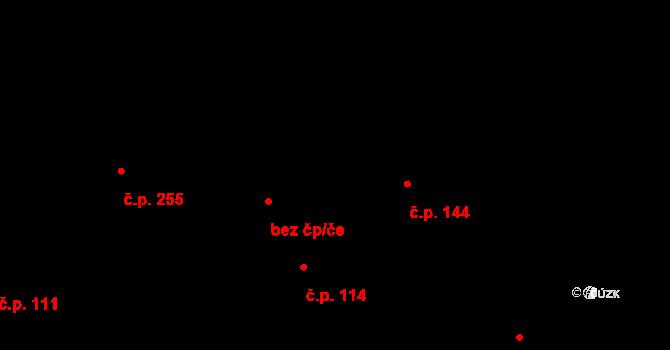 Újezd 144 na parcele st. 350 v KÚ Újezd u Valašských Klobouk, Katastrální mapa