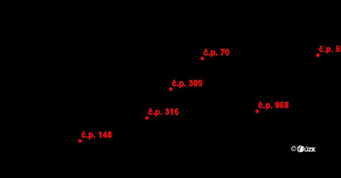 Zdice 309 na parcele st. 1264 v KÚ Zdice, Katastrální mapa