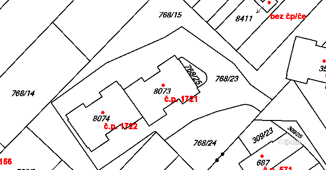 Bílé Předměstí 1721, Pardubice na parcele st. 8073 v KÚ Pardubice, Katastrální mapa