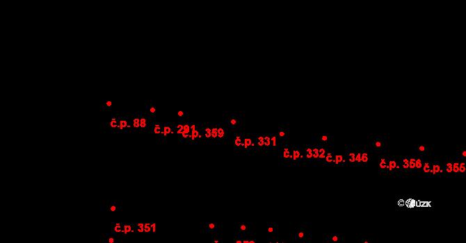 Újezd u Brna 331 na parcele st. 1245 v KÚ Újezd u Brna, Katastrální mapa