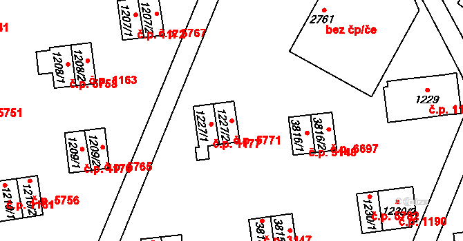 Zlín 5771 na parcele st. 1227/2 v KÚ Zlín, Katastrální mapa