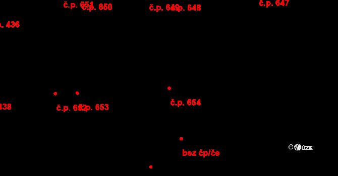 Svítkov 654, Pardubice na parcele st. 760/1 v KÚ Svítkov, Katastrální mapa