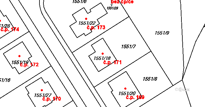 Nová Ves u Nového Města na Moravě 171 na parcele st. 1551/18 v KÚ Nová Ves u Nového Města na Moravě, Katastrální mapa