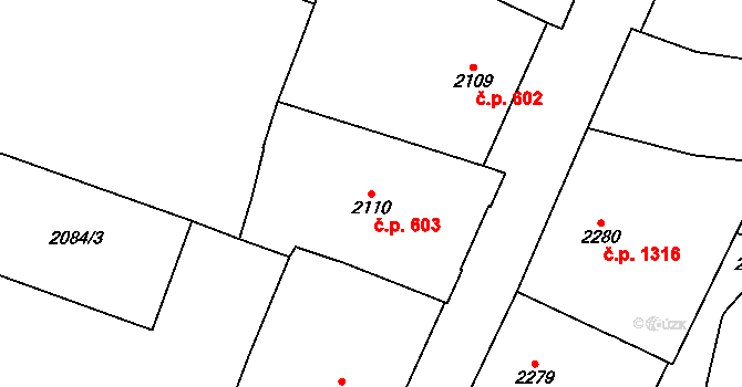 Nové Město 603, Praha na parcele st. 2110 v KÚ Nové Město, Katastrální mapa