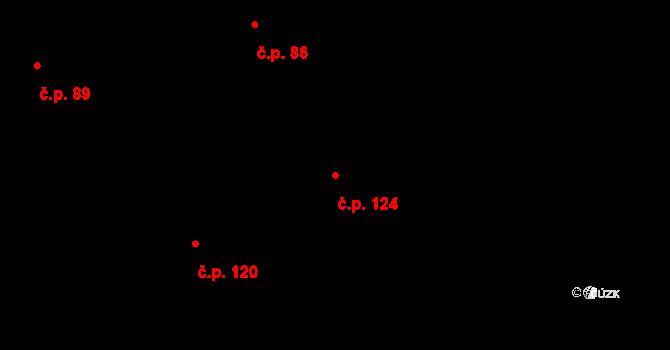 Újezd u Rosic 124 na parcele st. 120 v KÚ Újezd u Rosic, Katastrální mapa