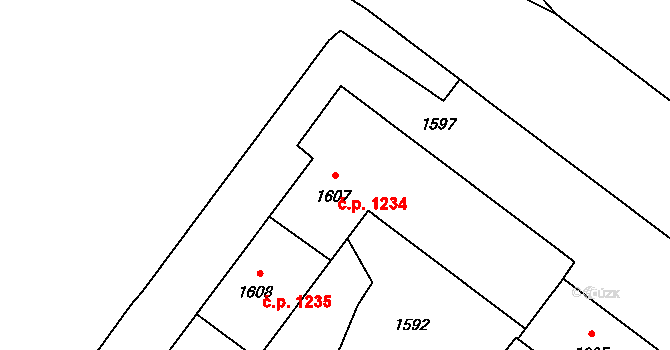 Poruba 1234, Ostrava na parcele st. 1607 v KÚ Poruba-sever, Katastrální mapa