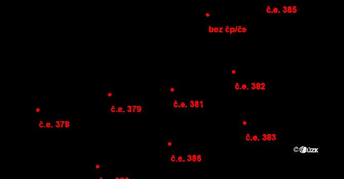 Lety 381 na parcele st. 1603 v KÚ Lety u Dobřichovic, Katastrální mapa