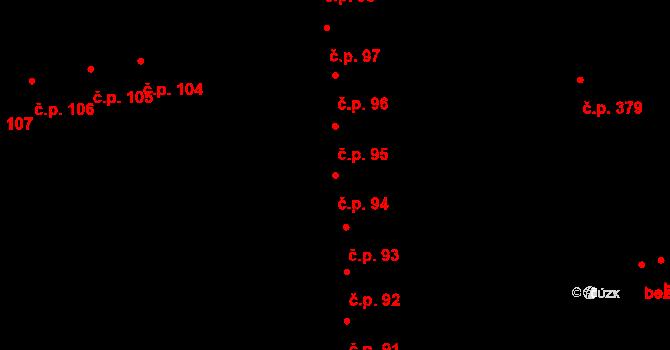 Valašské Meziříčí 94 na parcele st. 37 v KÚ Valašské Meziříčí-město, Katastrální mapa