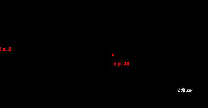 Klášterská Lhota 38 na parcele st. 2 v KÚ Klášterská Lhota, Katastrální mapa
