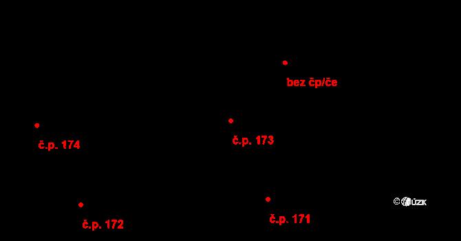 Nová Ves u Nového Města na Moravě 173 na parcele st. 1551/22 v KÚ Nová Ves u Nového Města na Moravě, Katastrální mapa