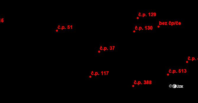 Úpice 37 na parcele st. 225/1 v KÚ Úpice, Katastrální mapa