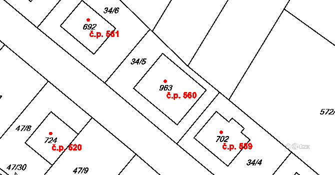 Hrotovice 560 na parcele st. 963 v KÚ Hrotovice, Katastrální mapa