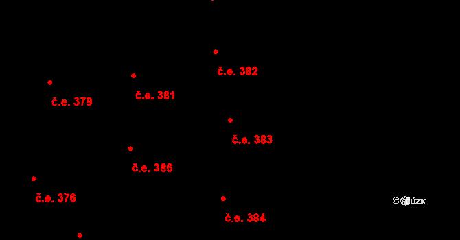 Lety 383 na parcele st. 1605 v KÚ Lety u Dobřichovic, Katastrální mapa
