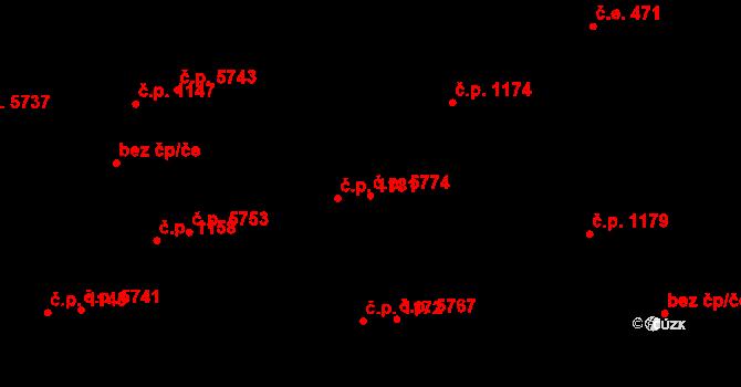 Zlín 5774 na parcele st. 1206/2 v KÚ Zlín, Katastrální mapa