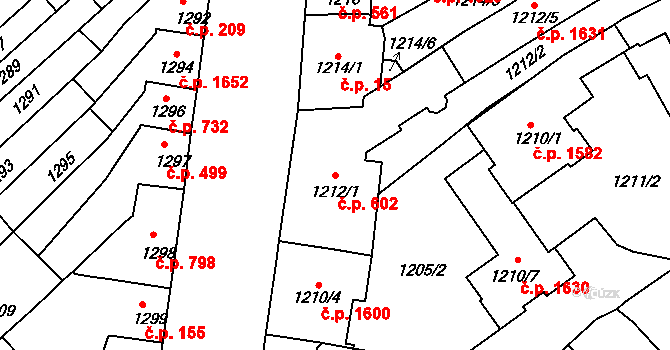Husovice 602, Brno na parcele st. 1212/1 v KÚ Husovice, Katastrální mapa